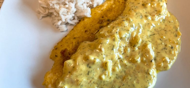 Fisch in Dill-Curry-Honig-Sauce